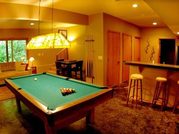 Game Room with Pool Table, TV, and Second Kitchen