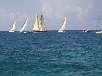 Sailing by the Villa in small groups or full Regatta.
