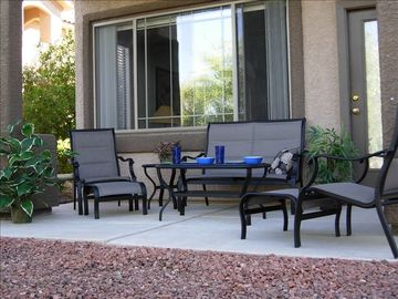 patio-loveseat, 2 chairs w/footstools, 2 tables, private/quiet-no lights in view