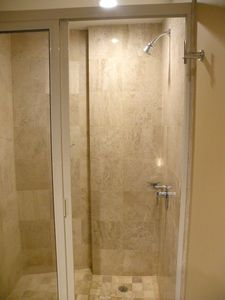 Large shower in guest bath