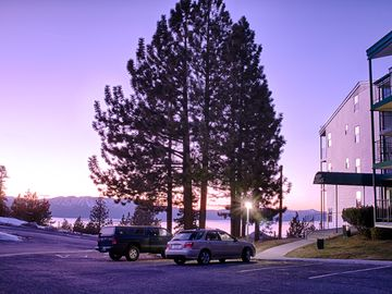 Stroll outside the building for breathtaking views of Lake Tahoe.
