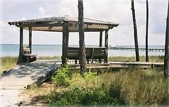 Gazebo in front of Kinja Kool overlooking the Bay, Pier & Boat Dock