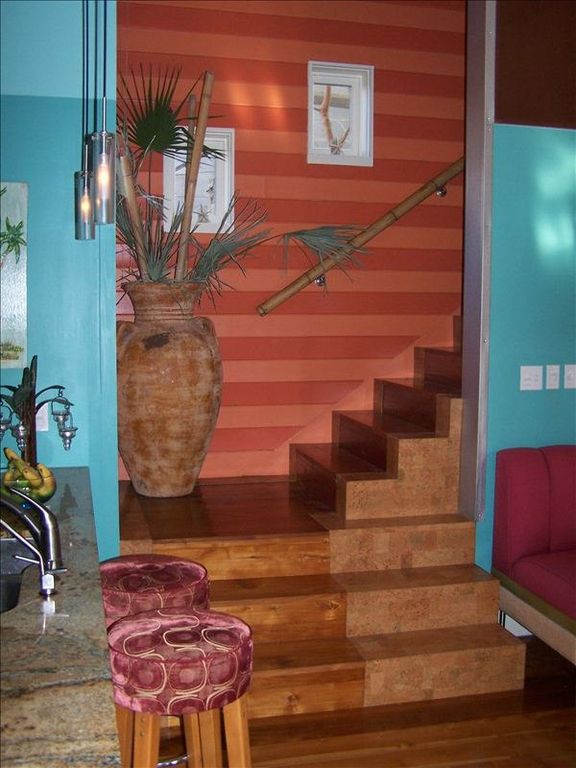 Interesting staircase made of Teak & Cork.