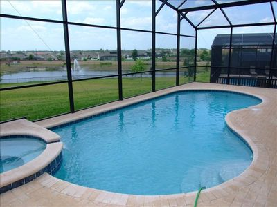 Lanai with Pool & Spa Overlooking a Pond with a Fountain for a Great View!