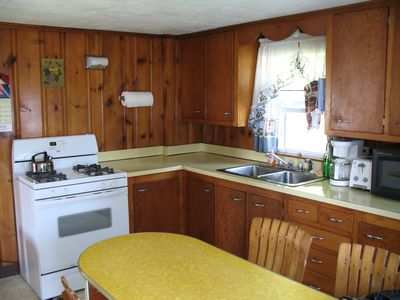 Great Island cottage rental - The Kitchen has everything you need , with new refrig and new washer/dryer.