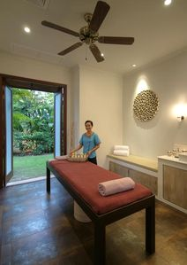 Room with a View - the private spa with jacuzzi tub. De-stress, unwind, relax...