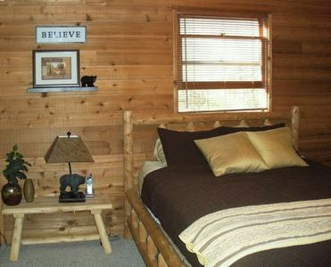 Hayesville cabin rental - Second bedroom with Queen log bed