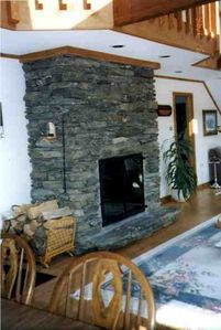 Killington house rental - stone fireplace