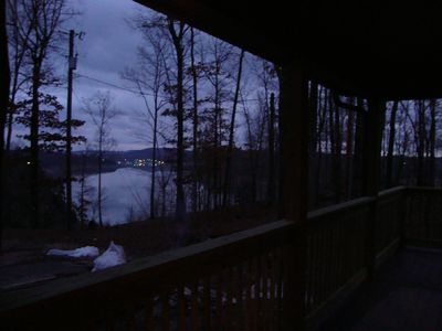 Dusk of the lake from the porch
