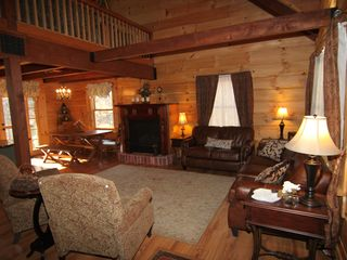 Massanutten house photo - Great room is open to two stories - amazing log construction