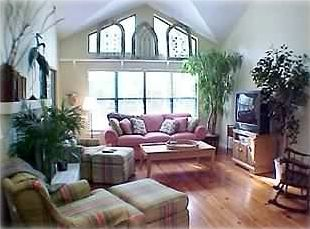 "living room w/ 36"" TV/VCR/DVD/Games, gas fireplace"