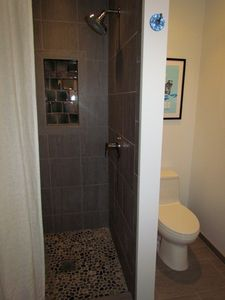 Lower Level Full Bath with Walk-in Tile/Pebble Shower
