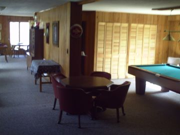 regulation pool table and wet bar