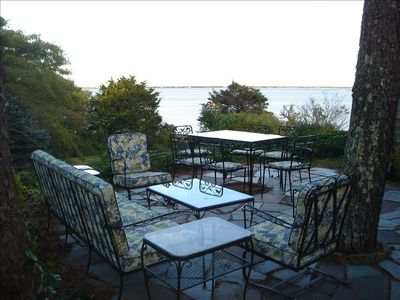 Views of Harbor and Atlantic from the dining terrace (Weber gas SS Grill here).