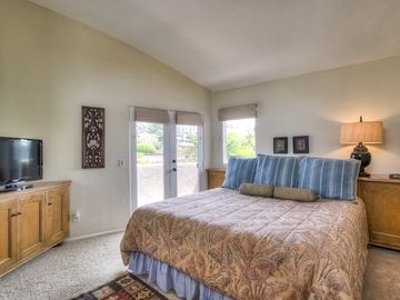 Sunny master bedroom with comfortable kind size bed