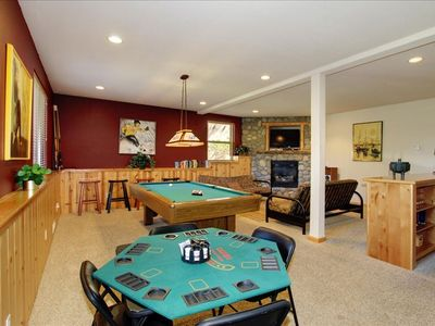 Game room with card and pool table, dishwasher, refrigerator, dishwasher