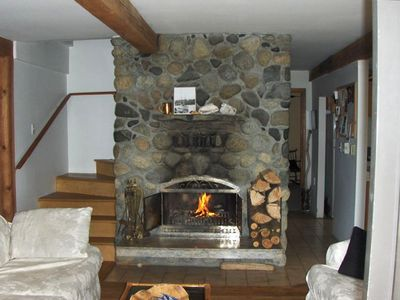 Stone fireplace on main floor