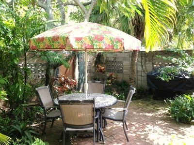 Kailua cottage rental - Tropical Serenity awaits you on your private patio at Tropical Sands.