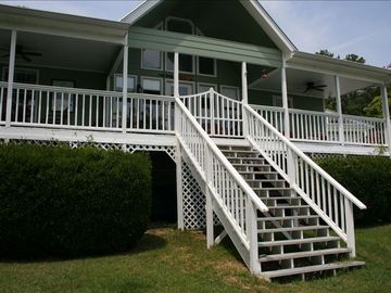 Logan Martin Lake house rental - House facing water, Covered porch with ceiling fans