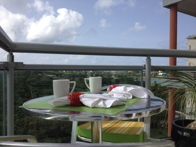 Morning coffee on bedroom balcony