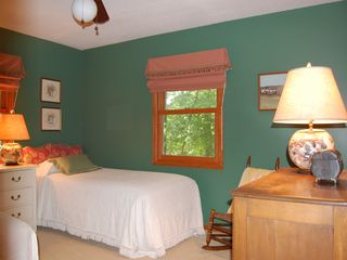 Lake Gaston house photo - green room - 2 windows makes for great views of lake and woods