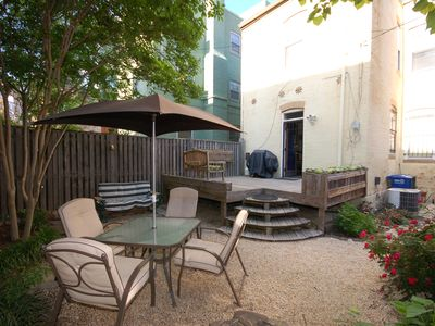 Back patio with gas grill for outdoor dining