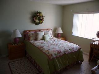 St. Augustine Beach condo photo - Master with bath,Queen bed with lake and pool view