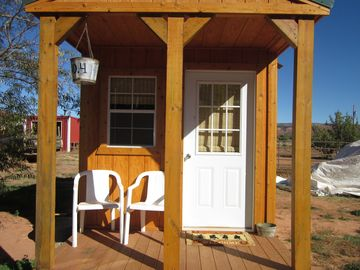Apple Valley cabin rental - Cowboy Bunk House with front porch
