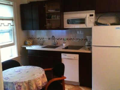 kitchen: glass cooktop, microwave, convection oven, dishes,pans, dishwasher