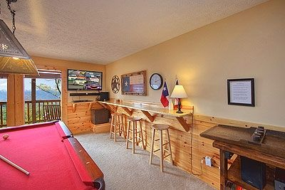 "Game Room, 46"" HD TV, Blu-ray, Surround Sound, Texas Shuffleboard."