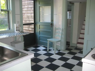 Oak Bluffs house rental - Kitchen with door to the back yard