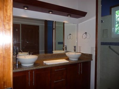 One of the spacious bathrooms