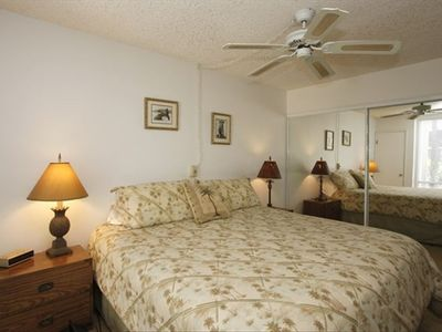 Top end king size bed with double closets and air conditioning.