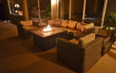 Outdoor patio with gas fire extends autumn and spring evenings.