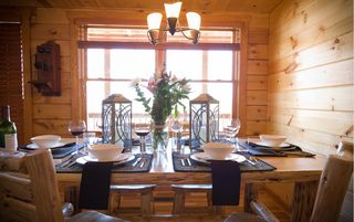 Stanardsville cabin photo - Dining area for 8. Perfect for shared family meals, puzzles, games & cards.
