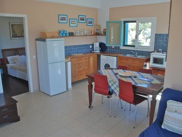 Villa Sol interior with open plan kitchen