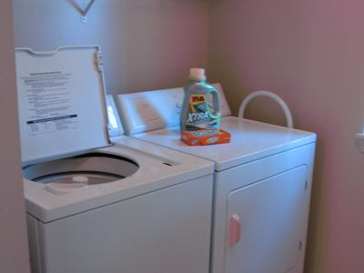 full size washer & dryer ... we provide laundry soap & dryer sheets!