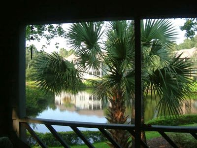 A Beautiful View of the Lagoon from screened in porch.