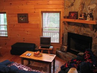 Cherry Log cabin photo - Family area with gas fire place