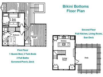 Bikini Bottoms: 2 Bedroom/2 Bath on 1st floor, kitchen, living and sun deck up
