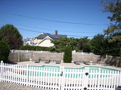 Key-locked fenced in private pool separate from yard.