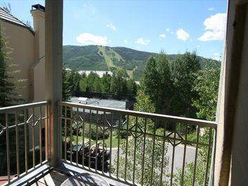 View of Beaver Creek Mountain and Clay Tennis Courts from Spacious Balcony