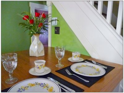 Breakfast Bar located in cottage kitchen, great for romantic honeymoon getaways