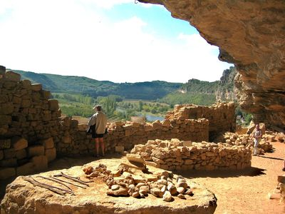 Ancient cliff dwellings above Dordogne
