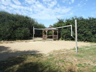 Volleyball court and gazebo
