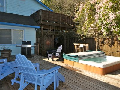 Deck with Spa, Weber gas Grill and seating for enjoying the sun