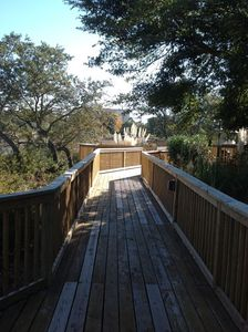 Walkway to spa and BBQ area