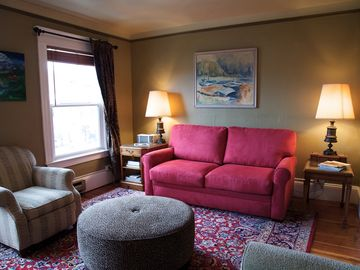 Seattle apartment rental - The sofa is a queen sleeper with modern foam mattress--it's comfortable!