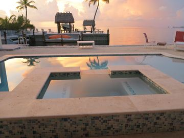Plantation Key house rental - End your day in the pool/ Hot tub with a private sunset over the Gulf of Mexico.