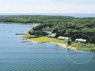 Pocasset house photo - Aerial view of waterfront property, jetty and dock--circled